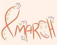 March 8 logo inscription to International Women`s Day Royalty Free Stock Photos