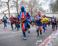 The London Landmarks Half Marathon. 25 March 2018 - London, England. Brand new, closed road, central London half marathon taking in the City and all of the stock photos