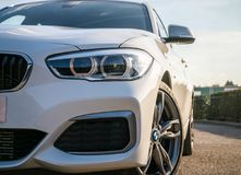 White BMW M135i front side royalty free stock images