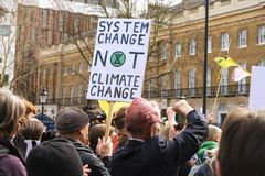 Extinction Rebellion Rally Demonstration in London stock images