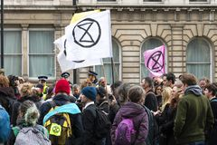 Extinction Rebellion Rally Demonstration in London royalty free stock image