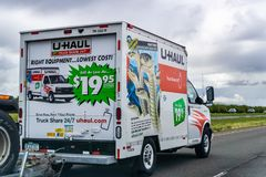 March 20, 2019 Los Angeles / CA / USA - U-Haul van travelling on the interstate; U-Haul is an American company offering DIY moving. Solutions stock images