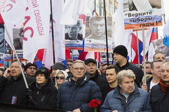 March in memory of Boris Nemtsov 27 february 2016. In the center of the column Mikhail Kasyanov former Prime Minister and a colleague of Boris Nemtsov, in Royalty Free Stock Image