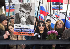 March in memory of Boris Nemtsov 27 february 2016. Boris Efimovich Nemtsov (9 October 1959 in Sochi — February 27, 2015, Moscow) is a Russian politician and Royalty Free Stock Photography
