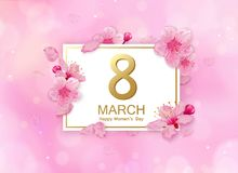 8 march modern background design with flowers. Happy women`s day stylish greeting card with cherry blossoms and petals. Royalty Free Stock Photography