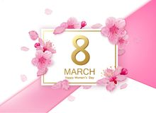 8 march modern background design with flowers. Happy women`s day stylish greeting card with cherry blossoms and petals. Stock Photography