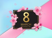 8 march modern background design with flowers. Happy women`s day stylish greeting card with cherry blossoms and petals. Stock Images