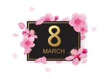 8 march modern background design with flowers. Happy women`s day stylish greeting card with cherry blossoms and petals. Stock Image