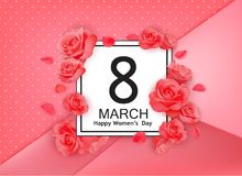 8 march modern background design with flowers. Happy women`s day stylish greeting card with red roses and petals. Royalty Free Stock Photography