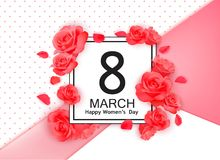 8 march modern background design with flowers. Happy women`s day stylish greeting card with red roses and petals. 8 march modern background design with flowers stock illustration