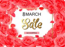 8 march modern background design with red roses. 8 march modern background design with roses Royalty Free Stock Photos