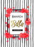 8 march modern background design with red roses. Royalty Free Stock Image