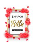 8 march modern background design with red roses. Stock Photos
