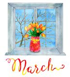 March month. Bunch of tulips against the background of window with spring tree. Watercolor illustration with isolated design elements. Calendar page concept with Royalty Free Stock Photo