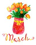 March month. Bunch of tulips in vase. Watercolor isolated illustration for calendar design page. Concept of twelve months symbols and hand writing lettering Stock Illustration