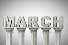 March month sign on a classic columns Royalty Free Stock Images