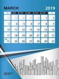 MARCH 2019 Month template, Desk Calendar for 2019 year, week start on sunday, planner. Stationery, Blue Concept, vertical layout vector illustration Stock Photo