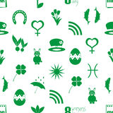 March month theme set of simple icons seamless green pattern eps10 Royalty Free Stock Photo
