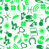 March month theme set of simple icons seamless green pattern eps10 Stock Photography