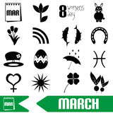 March month theme set of simple outline icons eps10 Stock Photo
