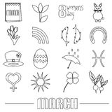 March month theme set of simple outline icons eps10 Stock Images