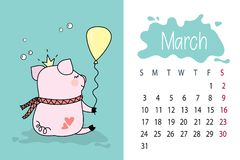March month 2019 year calendar page with cute pink pig. Pork with balloon,vector illustration royalty free illustration