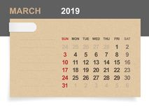 March 2019 - Monthly calendar on brown paper and wood background with area for note. Vector illustration vector illustration