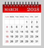 March 2018 - Monthly Calendar. Illustration - Vector Royalty Free Stock Image