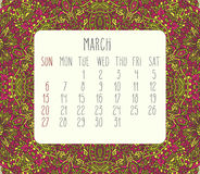 March 2016 monthly calendar. March 2016 vector monthly calendar over lacy doodle hand drawn background, week starting from Sunday Stock Photo