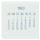 March 2016 monthly calendar. March 2016 vector monthly calendar on a squared notebook page. Week starting from Sunday. Hand written typography Royalty Free Stock Photo