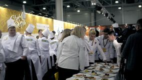 21 MARCH, 2018, Moscow, RUSSIA: METRO EXPO the International festival of art of cookery a lot of chefs professionals. Mishnah star stock video