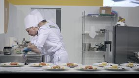 21 MARCH, 2018, Moscow, RUSSIA: METRO EXPO the International festival of art of cookery a lot of chefs professionals. Mishnah star stock footage