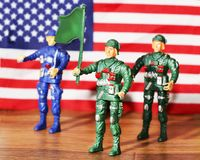 March 31, 2018. Moscow, Russia. Toy soldiers plastic for boys, American army, flag stock images