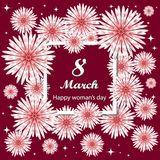 8 march. Mother`s Day. Women` s Day Greetings card. Floral bouquet. Square frame. Text royalty free illustration