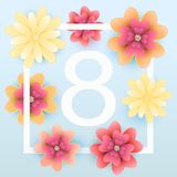 8 March. Mothers day greeting card with blooming red, yellow flo. Wers. Vector illustration Stock Photo