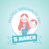5 March Multiple Personality Day. Calendar for each day on March 5. Greeting card. Holiday - Multiple Personality Day. Icon in the linear style stock illustration