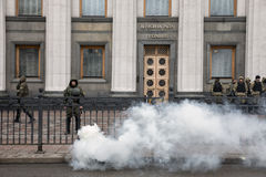 March of National Dignity in Kiev, Ukraine. KIEV, UKRAINE - Feb 22, 2017: Soldiers of the National Guard of Ukraine maintain order near the Verkhovna Rada of Royalty Free Stock Image