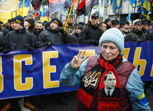 March of National Dignity in Kyiv. KIEV, UKRAINE - Feb 22, 2017: Activists of nationalist groups during the March of National Dignity. Inscription on poster royalty free stock photography
