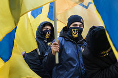March of National Dignity in Kyiv. KIEV, UKRAINE - Feb 22, 2017: Activists of nationalist groups during the March of National Dignity to honor protesters who royalty free stock photos