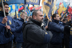 March of National Dignity in Kyiv. KIEV, UKRAINE - Feb 22, 2017: Activists of nationalist groups during the March of National Dignity to honor protesters who royalty free stock photography