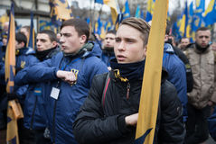 March of National Dignity in Kyiv. KIEV, UKRAINE - Feb 22, 2017: Activists of nationalist groups during the March of National Dignity to honor protesters who stock image