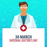 30 March. National Doctors day. Medical holiday. Vector medicine illustration. 30 March. National Doctors day. Medical holiday. Vector medicine illustration Stock Images
