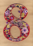 Number 8 decorated with floral ornaments. Quilling, 8th of March Royalty Free Stock Photos
