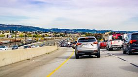 March 31, 2019 Oakland / CA / USA - Heavy traffic on the freeway in east San Francisco bay area royalty free stock photography