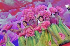 Flowers blooming like a piece of brocade-Women entrepreneurs chamber of Commerce celebrations. In March 18, 2018, organized by the Nanchang Municipal Chamber of Stock Images