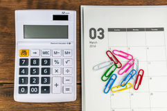 March organizer with calculator Royalty Free Stock Images