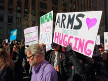March for Our Lives, Arms Are For Hugging, NYC, NY, USA Stock Photo
