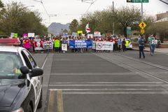 March for Our Lives Gun Violence Protest Organized by Community. TUCSON, AZ - MARCH: March for Our Lives gun violence protest organized by youth. March 24, 2018 Stock Images