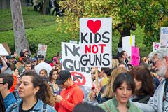 March for Our Lives movement`s march in Downtown Los Angeles Stock Images
