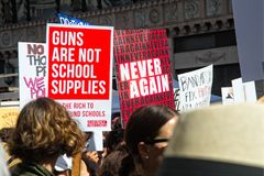 March for Our Lives movement`s march in Downtown Los Angeles. Los Angeles, California - March 24, 2018: March for Our Lives movement with protesters demanding Stock Photography